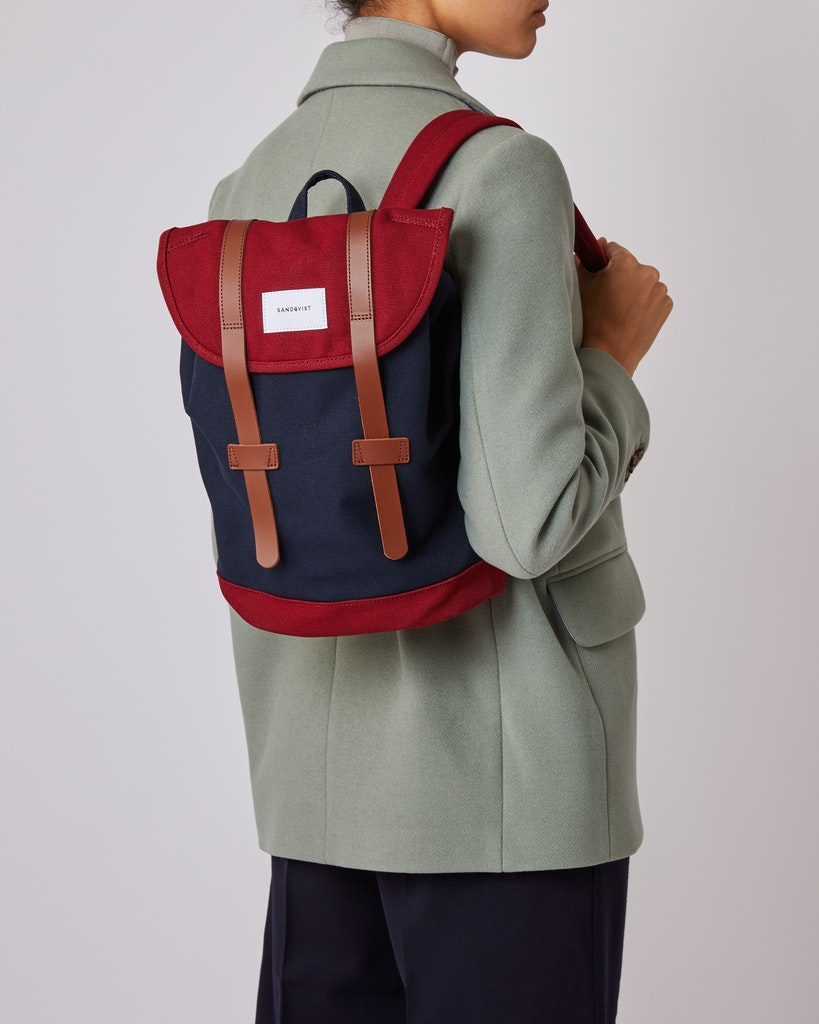Sandqvist - Backpack - Navy and Red - STIG SMALL 2