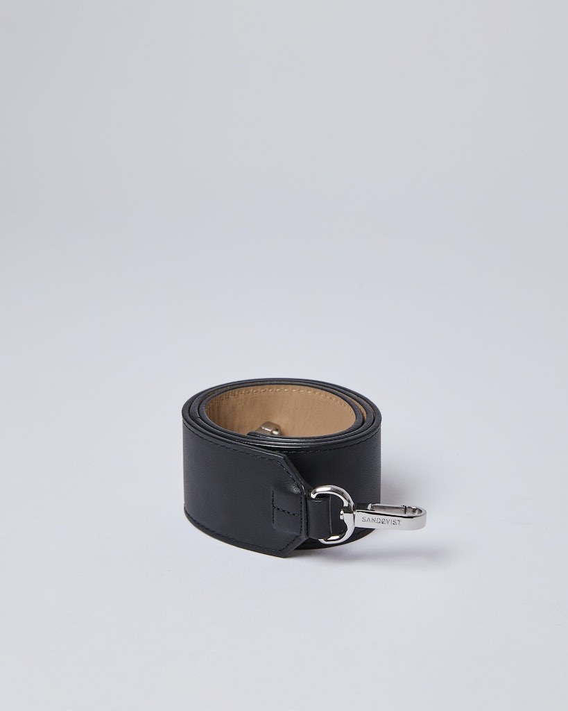 Sandqvist - Shoulder Strap - Beige and Black - SHOULDER STRAP LEATHER