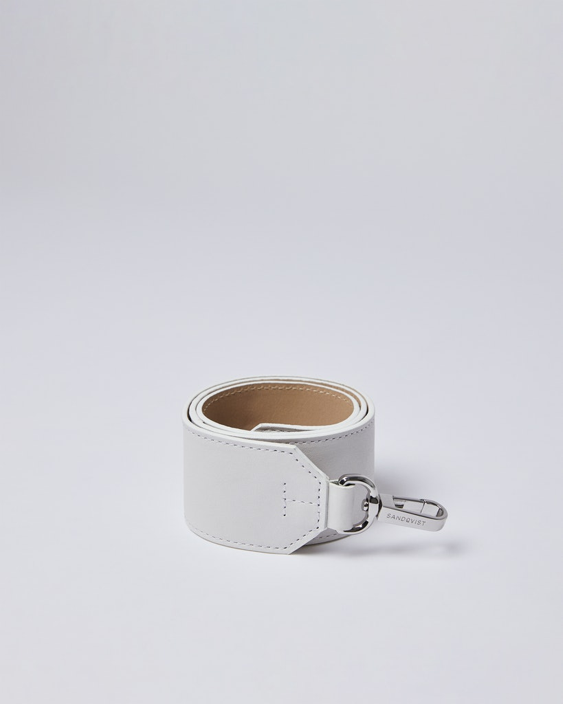 Sandqvist - Shoulder Strap - Beige and White - SHOULDER STRAP LEATHER