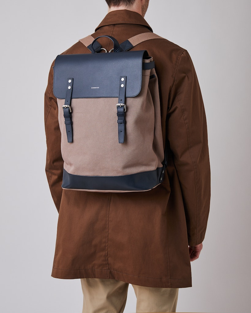 Sandqvist - Backpack - Brown and Navy - HEGE 2