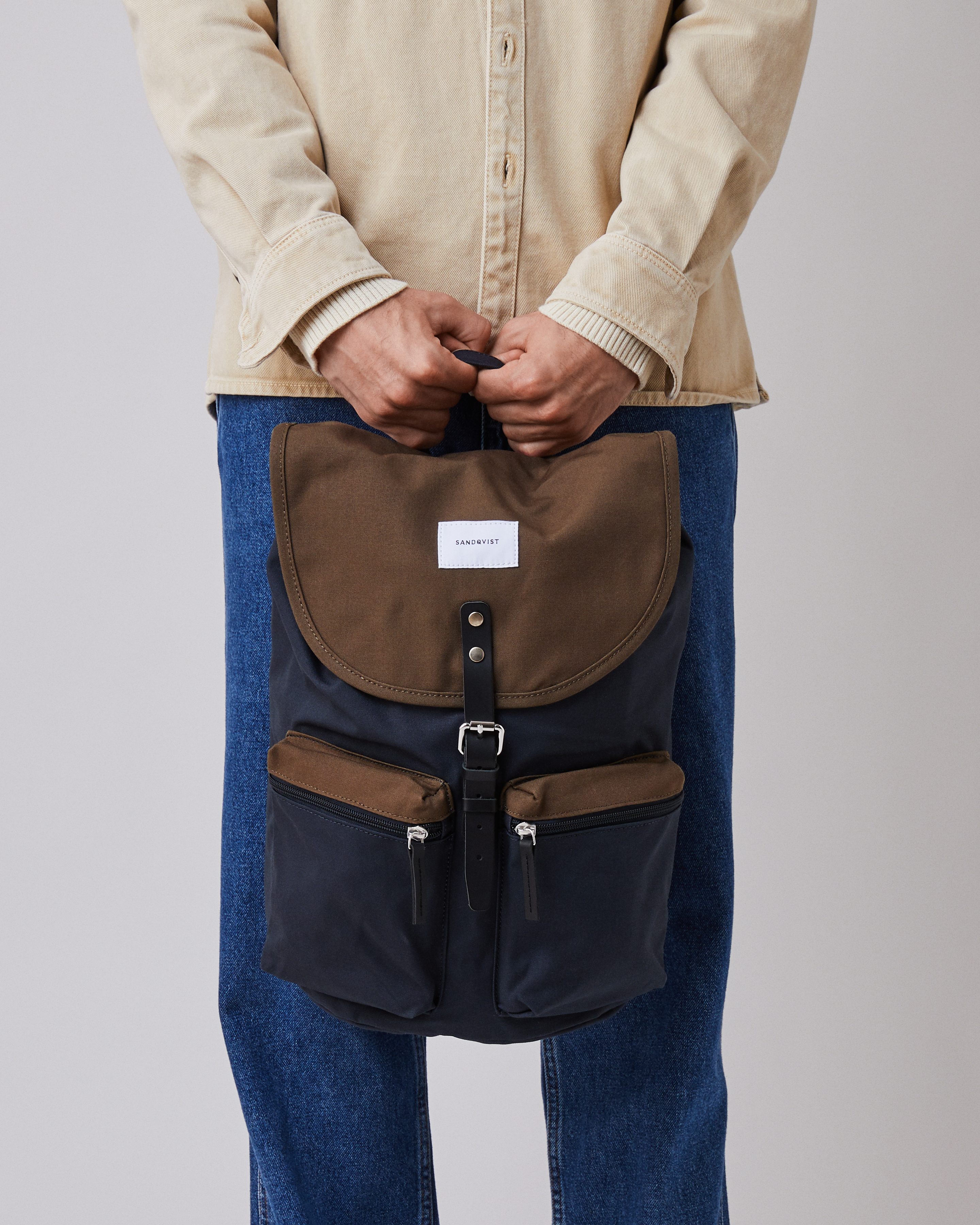 Roald Backpack multi navy olive with black leather
