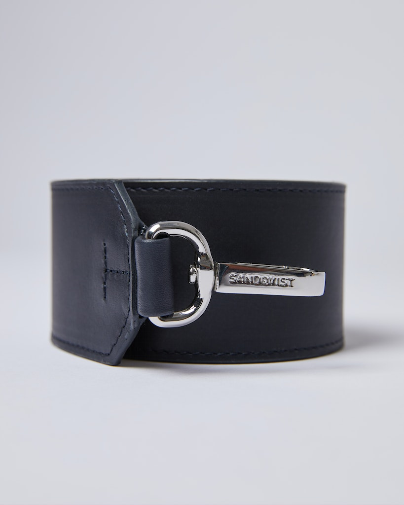 Sandqvist - Shoulder Strap - Navy and Beige - SHOULDER STRAP LEATHER 2