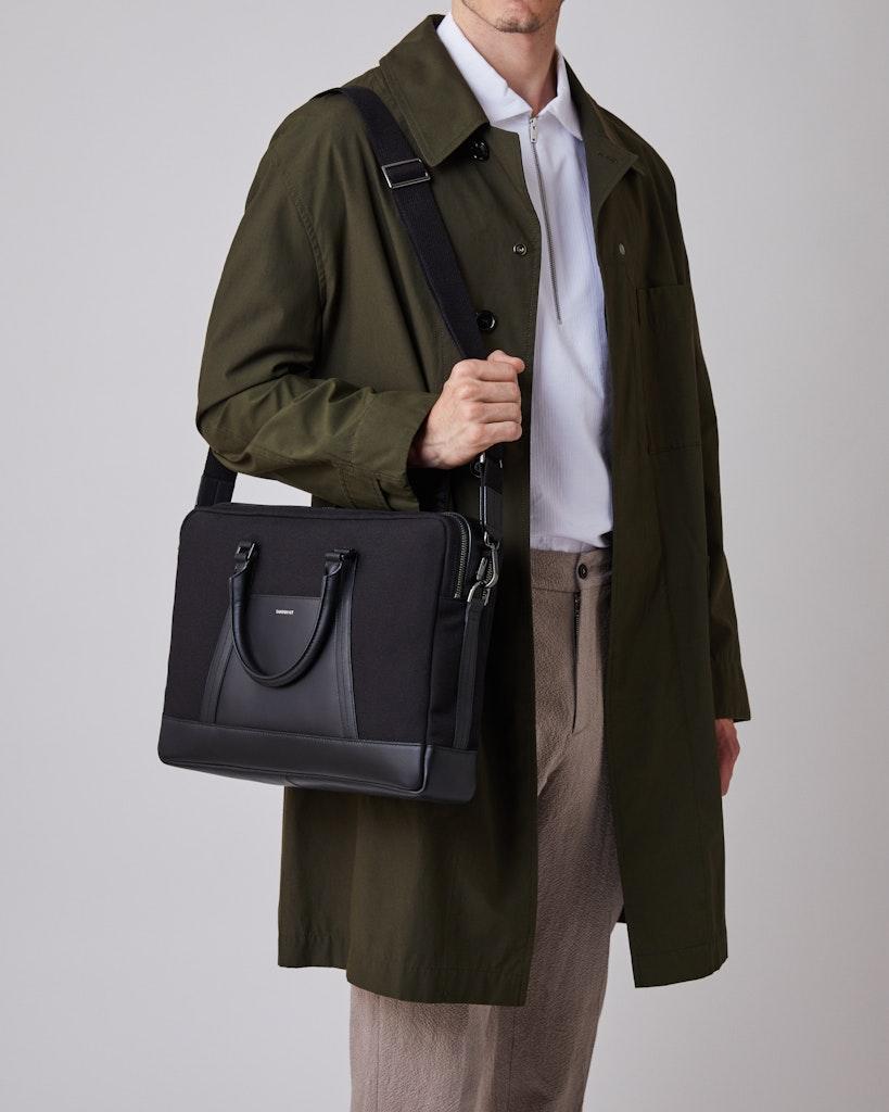 Sandqvist - Briefcase - Black - MELKER TWILL 2