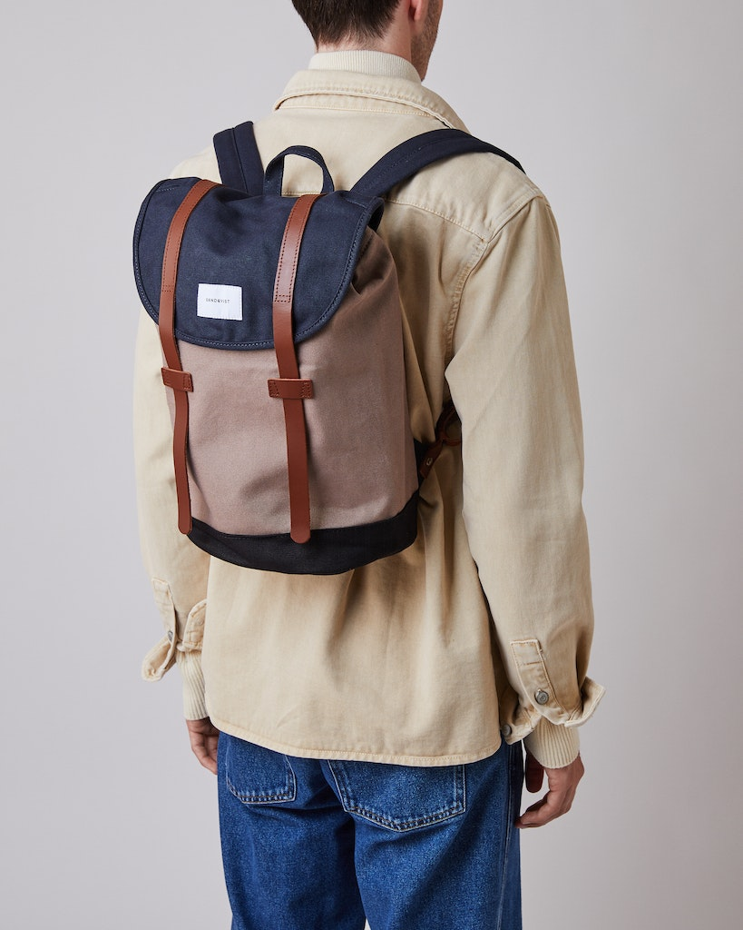 Sandqvist - Backpack - Navy and Brown - STIG 2