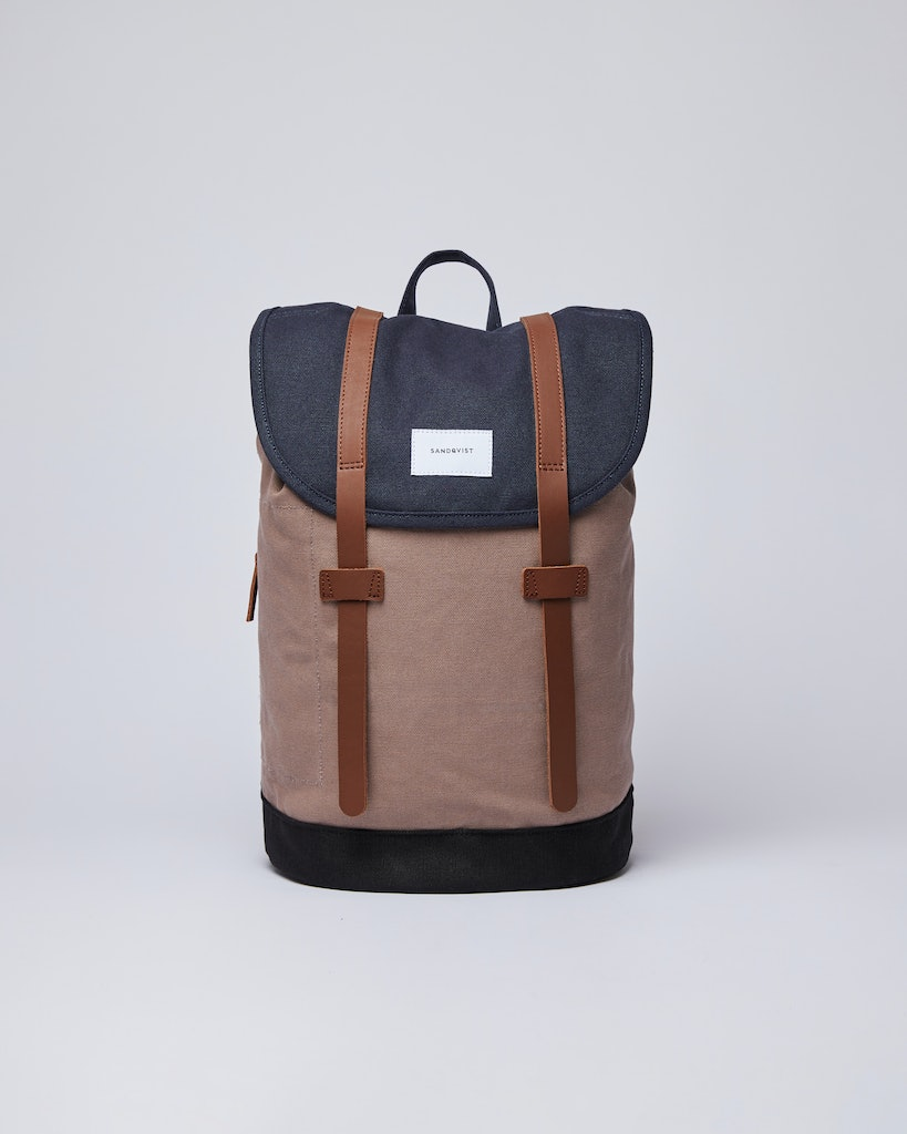 Sandqvist - Backpack - Navy and Brown - STIG