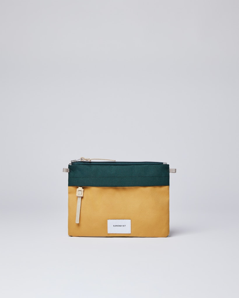 Sandqvist - Zip Pouch - Green and Yellow - LUDVIG